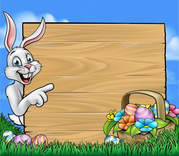 Easter Bunny Background Sign - Miscellaneous Vectors