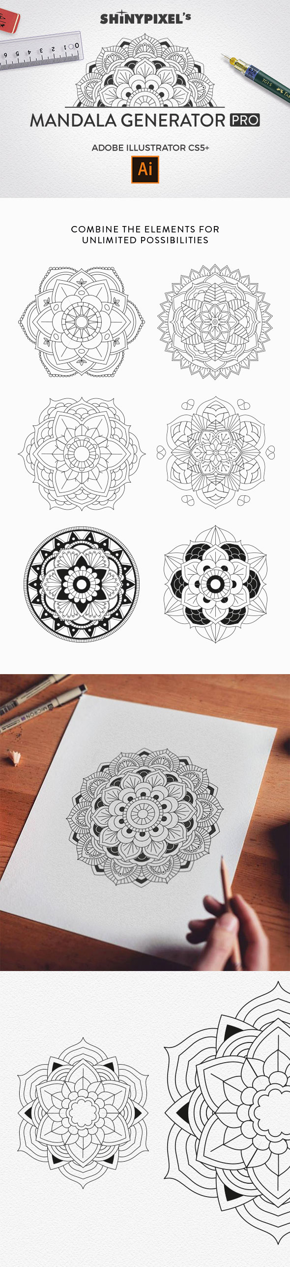 Mandala Generator PRO - Brushes Illustrator