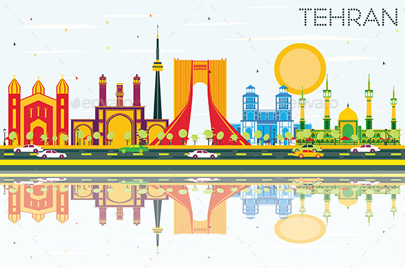 Tehran Skyline with Color Landmarks, Blue Sky and Reflections. - Buildings Objects
