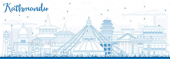 Outline Kathmandu Skyline with Blue Buildings. - Buildings Objects