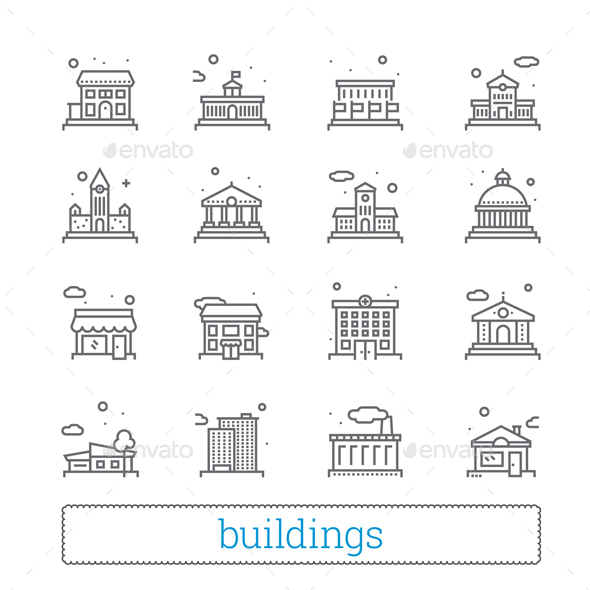 Building Thin Iine Icons - Buildings Objects