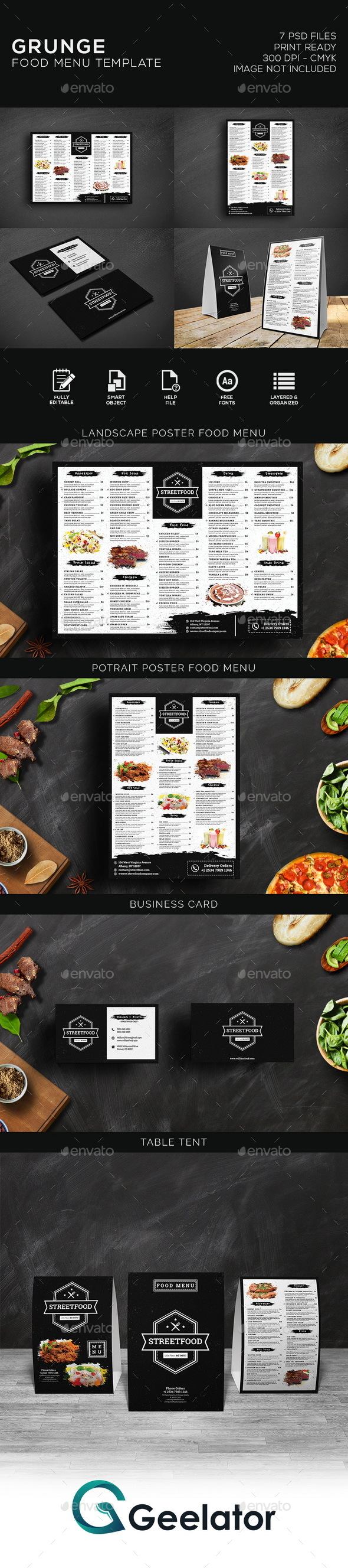 Grunge Food Menu - Food Menus Print Templates