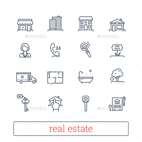Real Estate Thin Line Icons - Business Icons