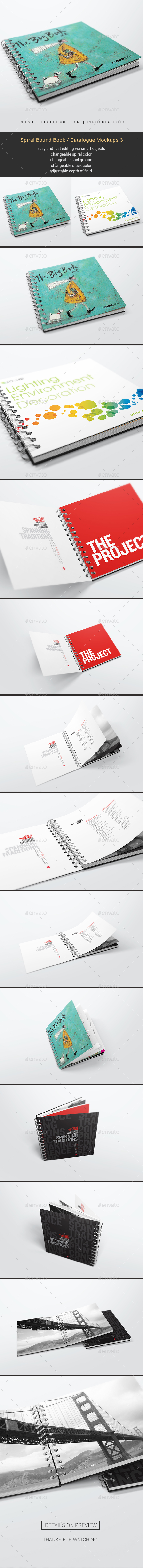 Spiral Bound Book / Catalogue Mockups 3 - Books Print