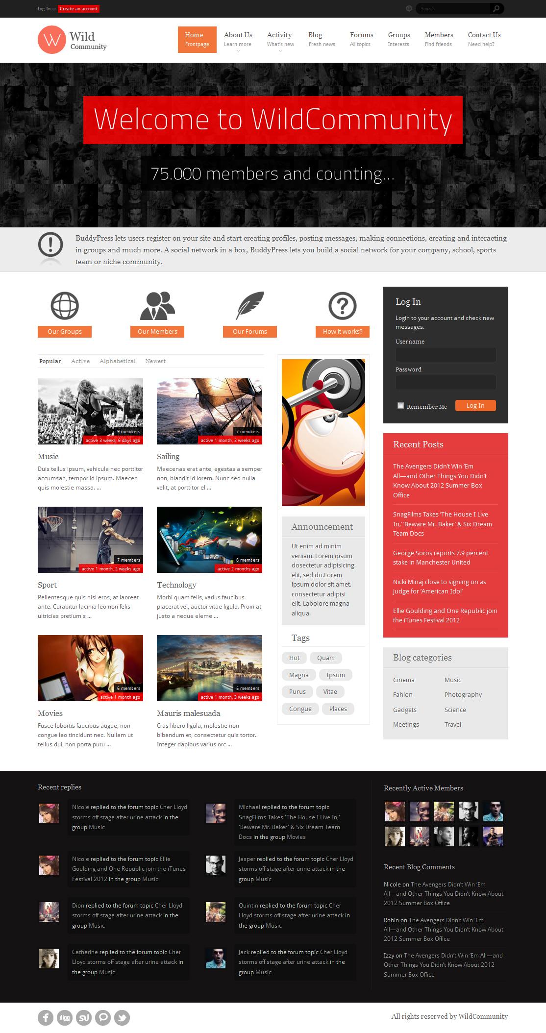 WildCommunity - BuddyPress Theme by Diabolique | ThemeForest