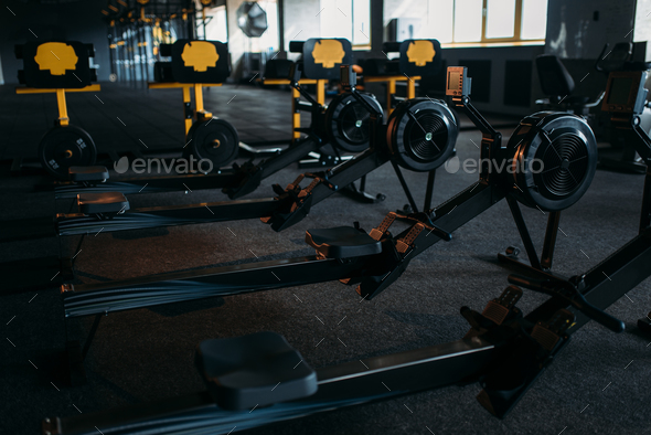 Gym nobody, empty fitness club. Training machine - Stock Photo - Images
