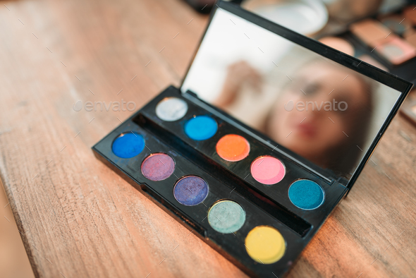 Collection of cosmetology tools on wooden table - Stock Photo - Images