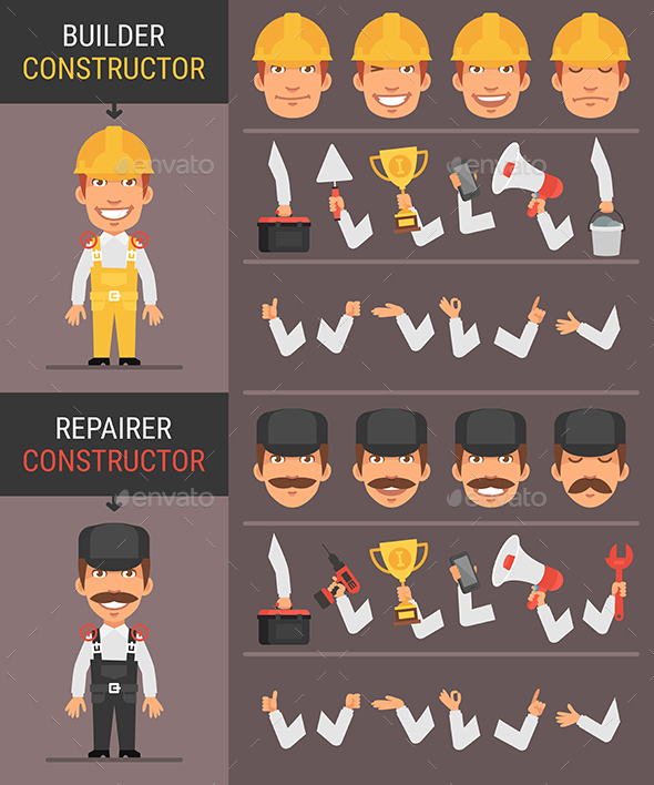 Constructor Character Builder and Repairman - People Characters