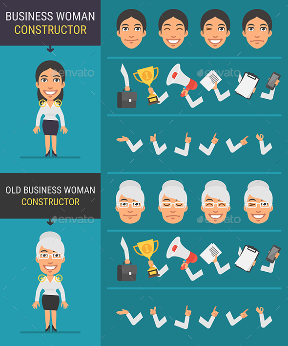 Constructor Character Businesswoman and Old Businesswoman - People Characters