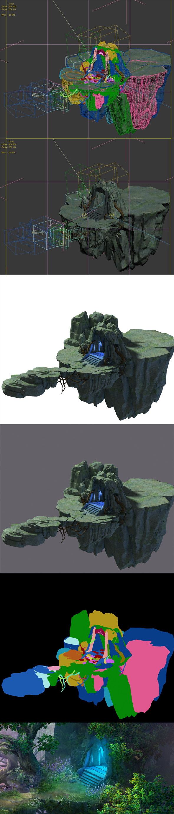 Fairy town - mountain and portal - 3DOcean Item for Sale