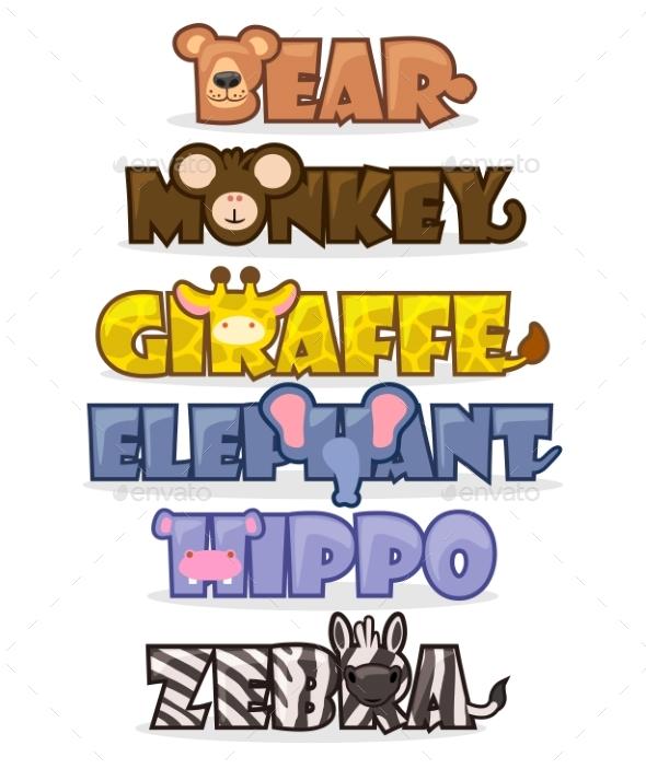 Set Cartoon Wild Animals - Animals Characters