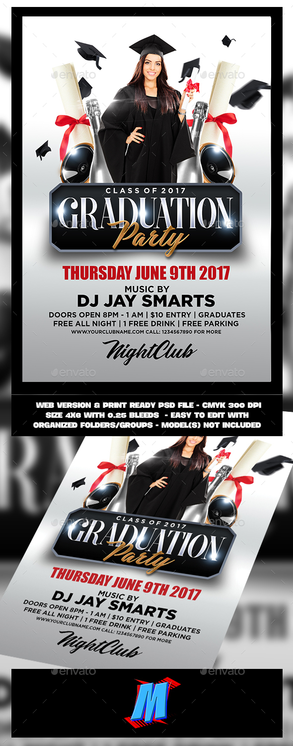 Amazing Graduation Party Flyer Template   Clubs U0026 Parties Events