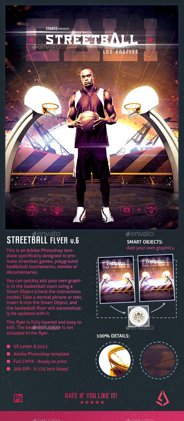 Streetball Flyer Template - Playground Basketball Poster v6 - Sports Events