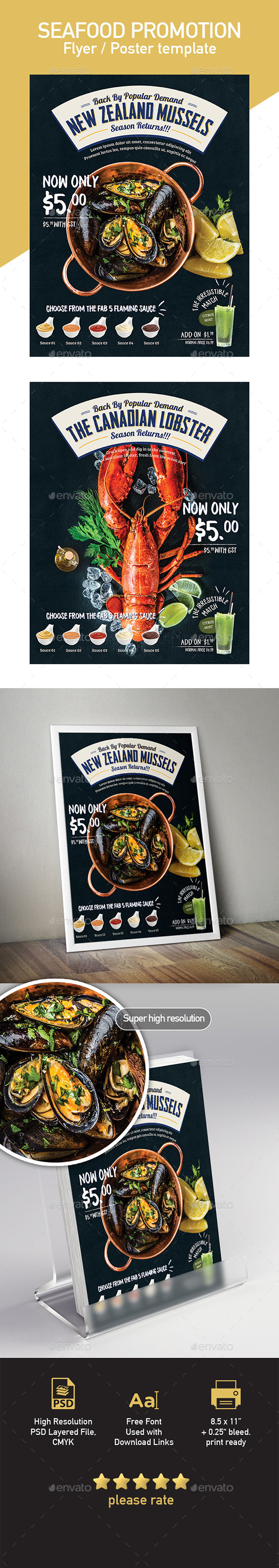 Seafood Poster / Flyer Menu Template - Restaurant Flyers