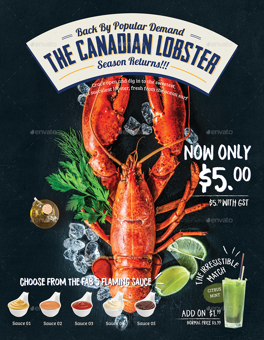 seafood poster    flyer menu template by tunagaga