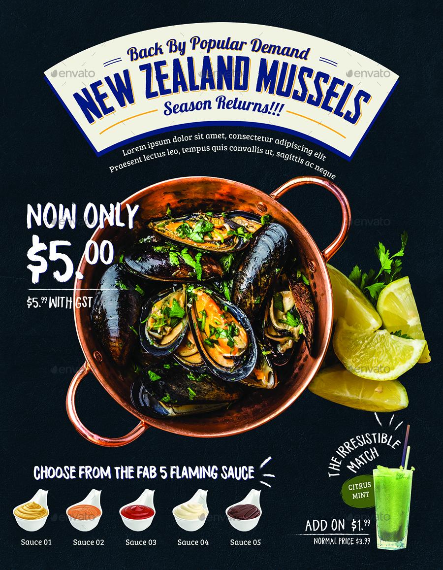 Seafood Poster Flyer Menu Template By Tunagaga Graphicriver