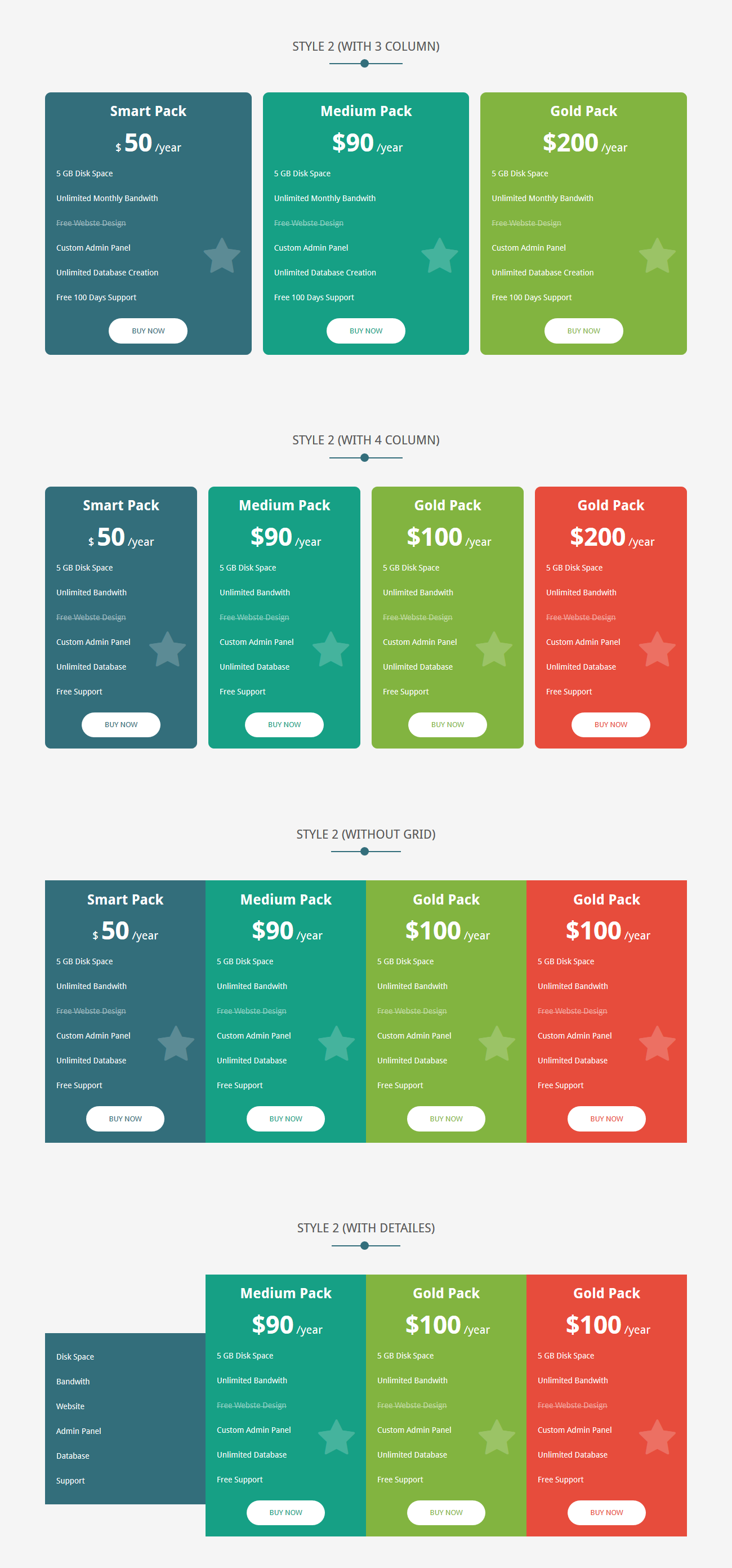X price creative responsive pricing tables by for Table th responsive