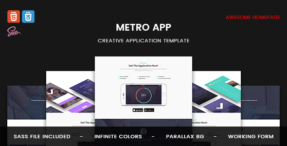 Metro App – Marketing Landing Page HTML5 Template (Technology) images