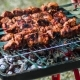 Grilling Barbecue Meat on Wood Coal. Man Turns Skewers. Man Cooks Appetizing Hot Shish Kebab on
