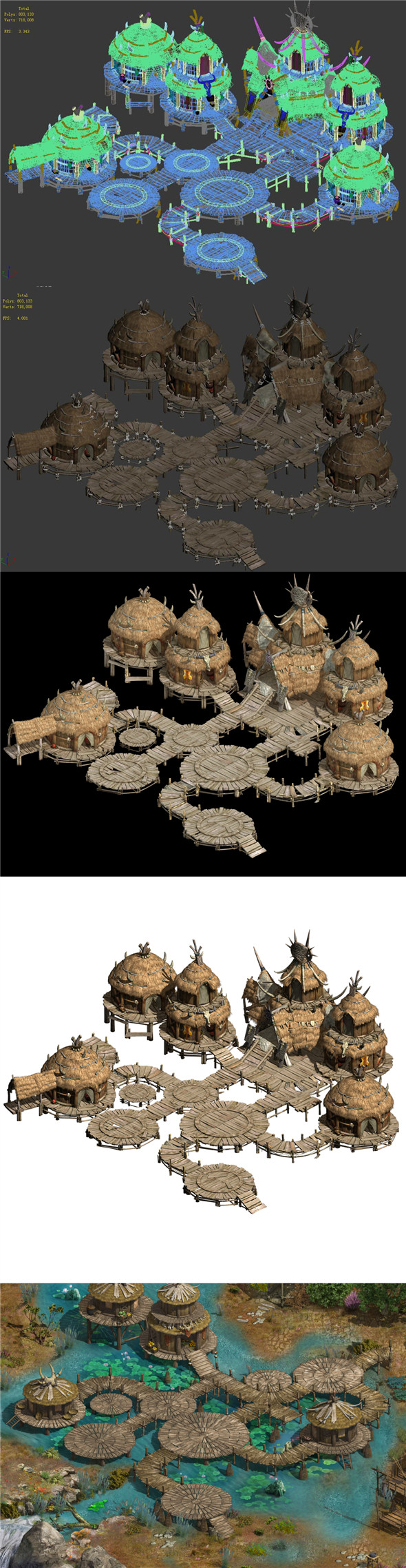 Primitive tribes - water village architecture - 3DOcean Item for Sale