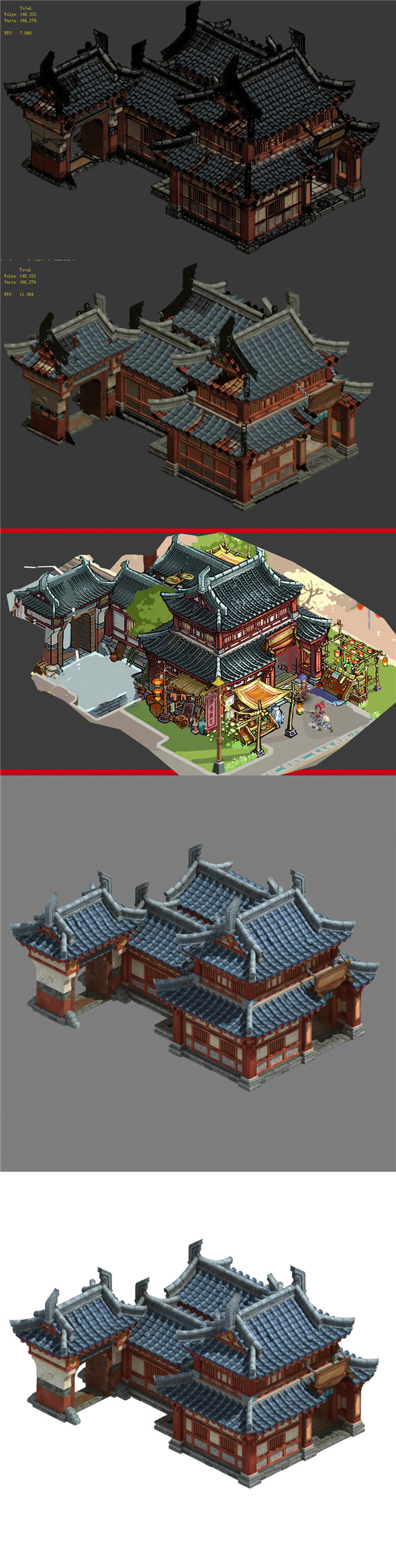 Ancient Chinese architecture - craft shop - 3DOcean Item for Sale