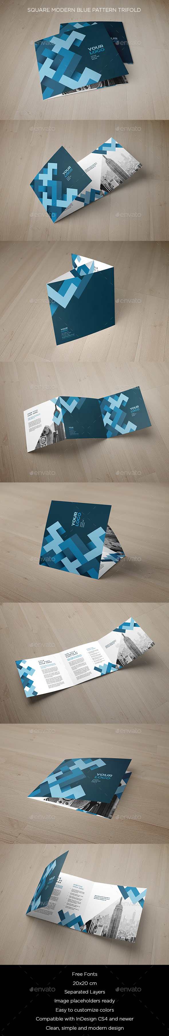 Square Modern Blue Pattern Trifold - Brochures Print Templates