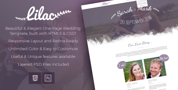 Lilac- Responsive One-page HTML5 Wedding Template - Wedding Site Templates