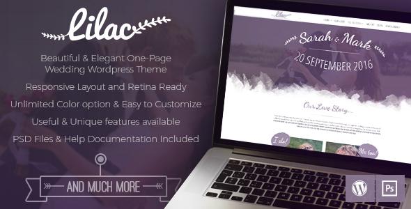 Lilac - One-page Wedding WordPress Theme - Wedding WordPress