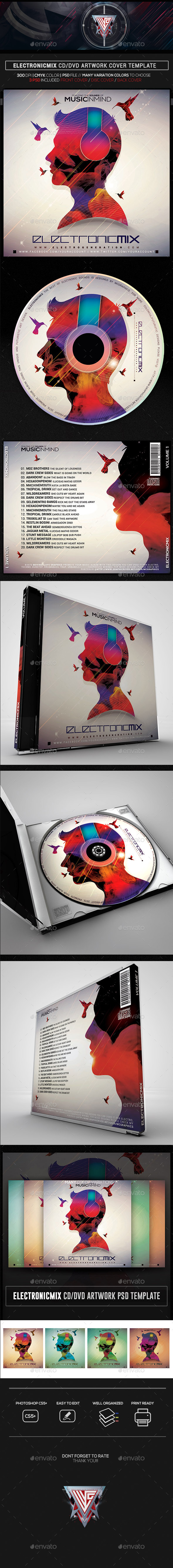 Music in Mind Electro Mix CD/DVD Template - CD & DVD Artwork Print Templates