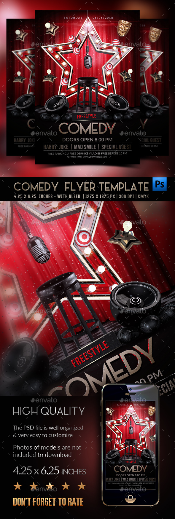 Comedy Flyer Template - Clubs & Parties Events