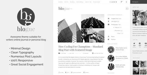 Blogue - Personal Blog WordPress Template