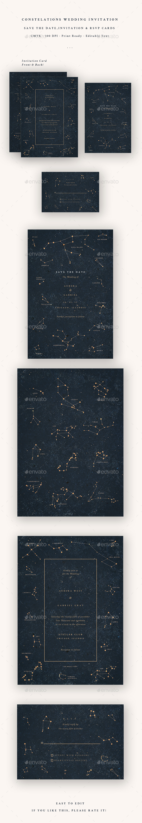 Constellations Wedding Invitation - Cards & Invites Print Templates