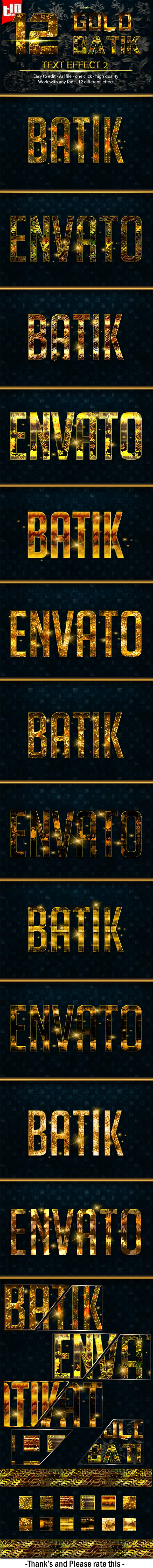 12 Gold Batik 2 - Text Effects Styles