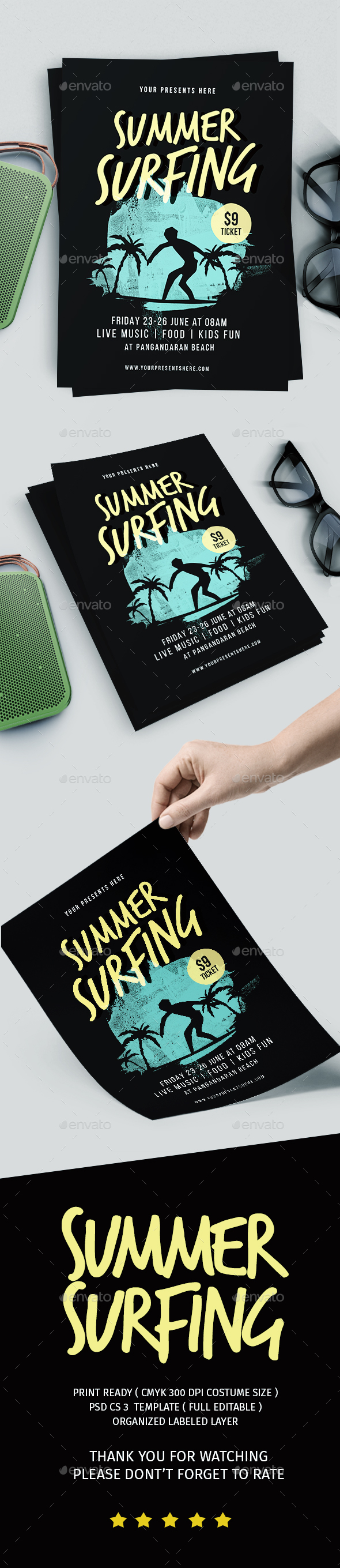 Summer Surfing Flyer - Events Flyers