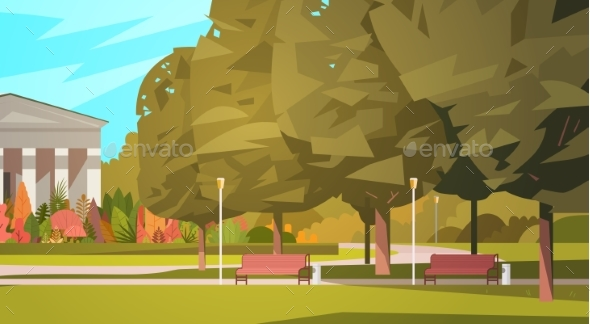 Summer City Park With Town Building Background - Landscapes Nature