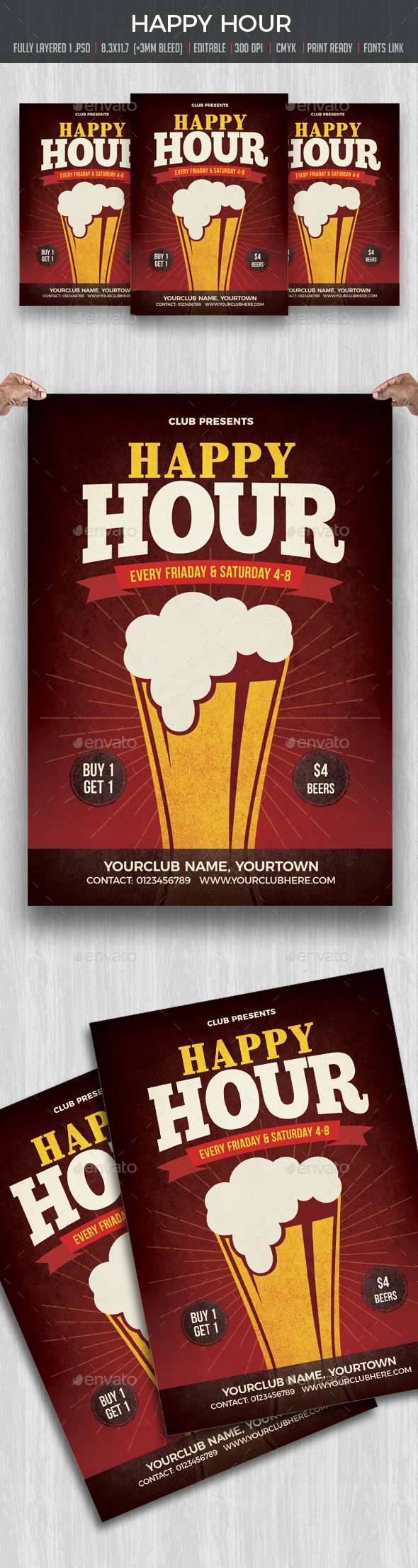 Happy Hour Flyer / Poster - Flyers Print Templates
