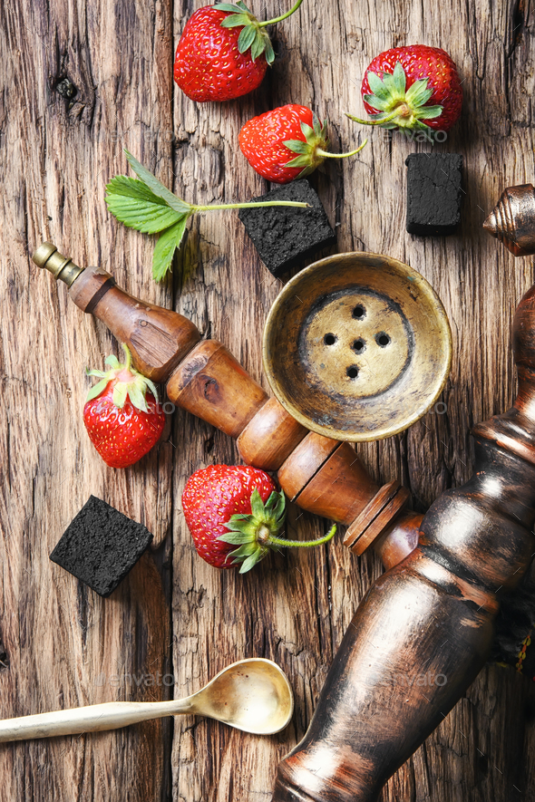 Turkish hookah with strawberry - Stock Photo - Images