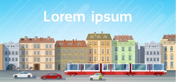 City Building Houses View With Car Road Tram - Miscellaneous Vectors