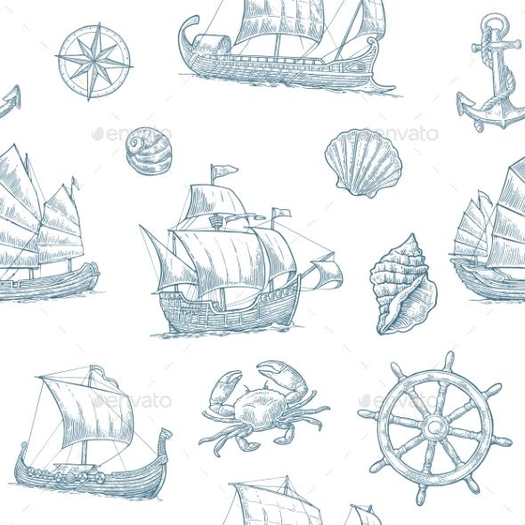 Trireme, Caravel, Drakkar, Junk. Set Sailing Ships - Buildings Objects