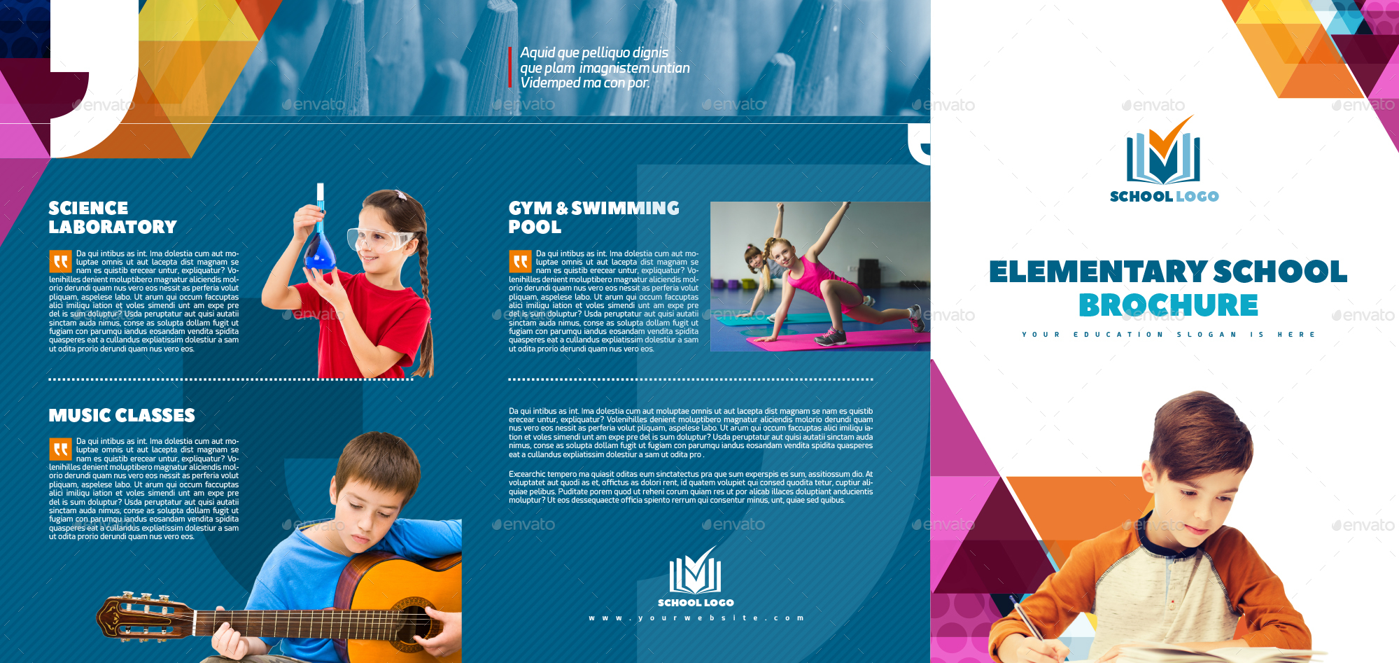 XA TriFold School Multipurpose Brochure Template By Interado - Tri fold school brochure template