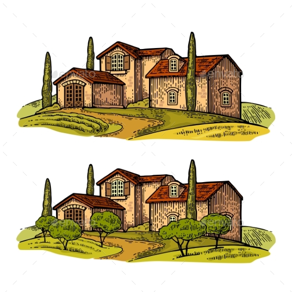 Rural Landscape with Villa or Farm with Field - Buildings Objects