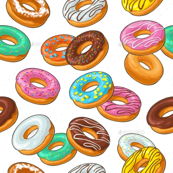 Seamless Pattern Set Donut with Different Icing - Miscellaneous Vectors