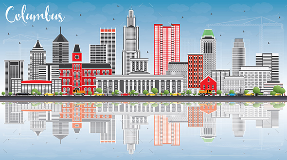 Columbus Skyline with Gray Buildings, Blue Sky and Reflections. - Buildings Objects