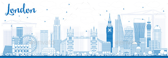 Outline London Skyline with Blue Buildings. - Buildings Objects