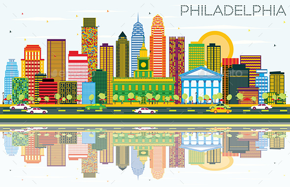 Philadelphia Skyline with Color Buildings, Blue Sky and Reflections. - Buildings Objects
