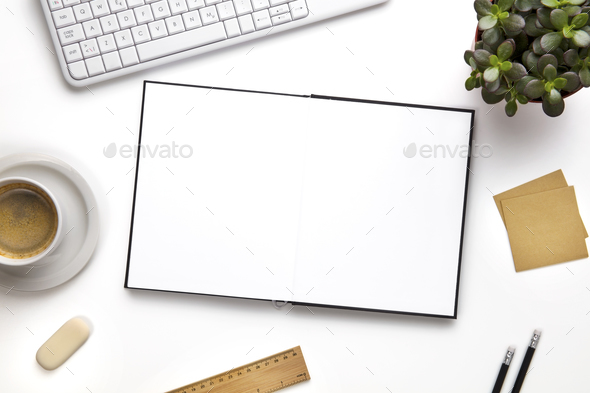 Open Blank Diary Surrounded With Office Supplies And Keyboard - Stock Photo - Images