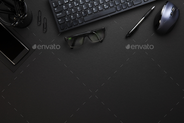 Computer Keyboard And Mouse With Office Supplies On Gray Desk - Stock Photo - Images