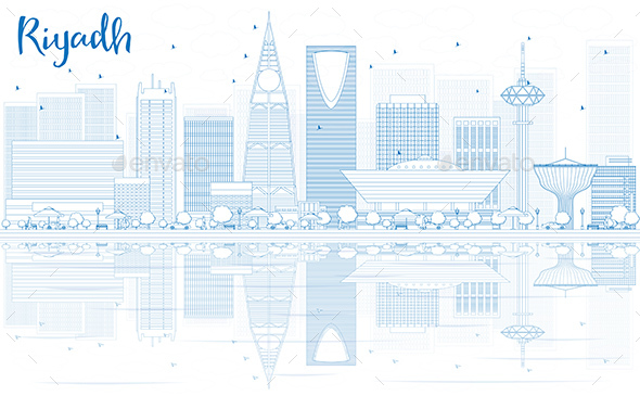 Outline Riyadh Skyline with Blue Buildings and Reflections. - Buildings Objects