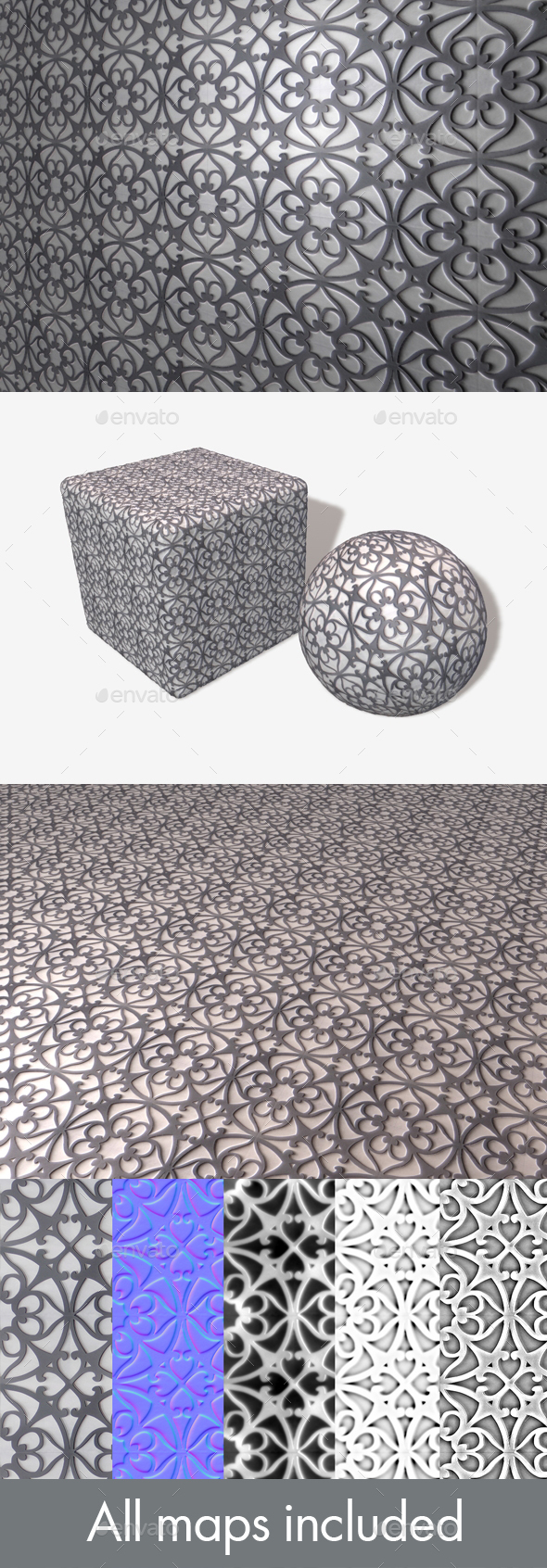 Patterned Metal Seamless Texture - 3DOcean Item for Sale