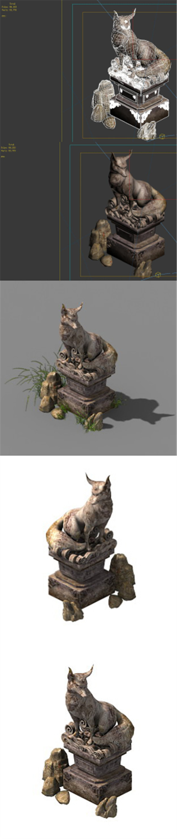 Game Model - Fox - Statue - 3DOcean Item for Sale
